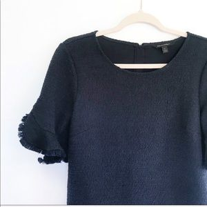 Banana Republic Navy Blue Boucle Ruffle Tweed Top